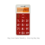 JUST5 Unlocked GSM Cell Phone - Dual-Band 850/1900, Big-Button Design, Emergency Response System, Red