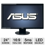 ASUS VE248Q 24 Class Widescreen LED Backlit Monitor - 1920 x 1080, 16:9, 50000000:1 Dynamic, 2ms, HDMI, DisplayPort, VGA, Energy Star
