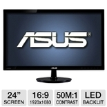 ASUS VS247H-P 24 Class Widescreen 2ms LED Backlit Monitor - 1920 x 1080, 16:9, 50000000:1 Dynamic, 2ms, HDMI, DVI, VGA, Energy Star